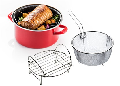 Delimano Stone Legend Cook'N'Bake Pot With Frying Basket - Cratita Delimano Stone Legend Cook'N'Bake cu cos de prajire